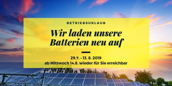Info zum Rappold Betriebsurlaub 2019
